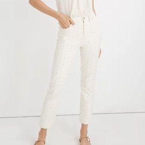 Cream Embroidered Madewell Vintage Jean